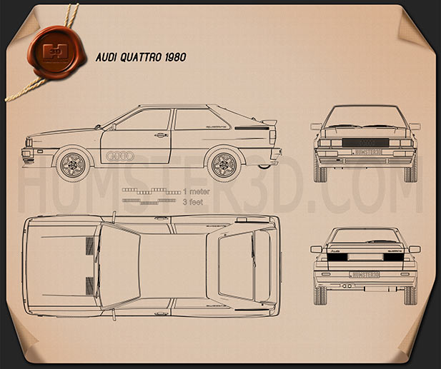Audi Quattro 1980 Blueprint