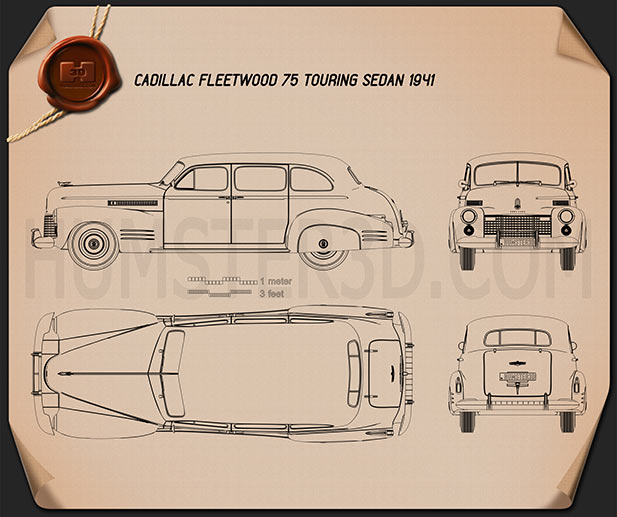 Cadillac Fleetwood 75 touring sedan 1941 Blueprint