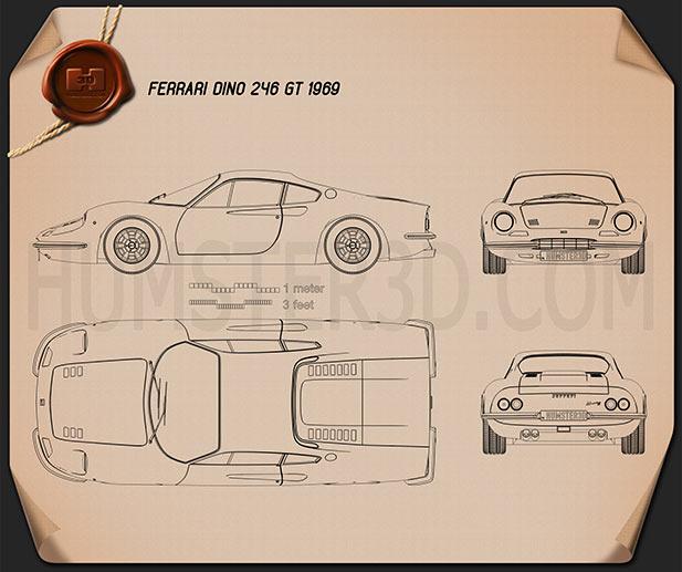Ferrari Dino 246 GT 1969 Blueprint