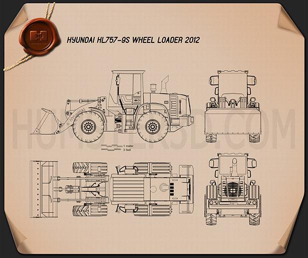 Hyundai HL757-9S Wheel Loader 2012 Blueprint