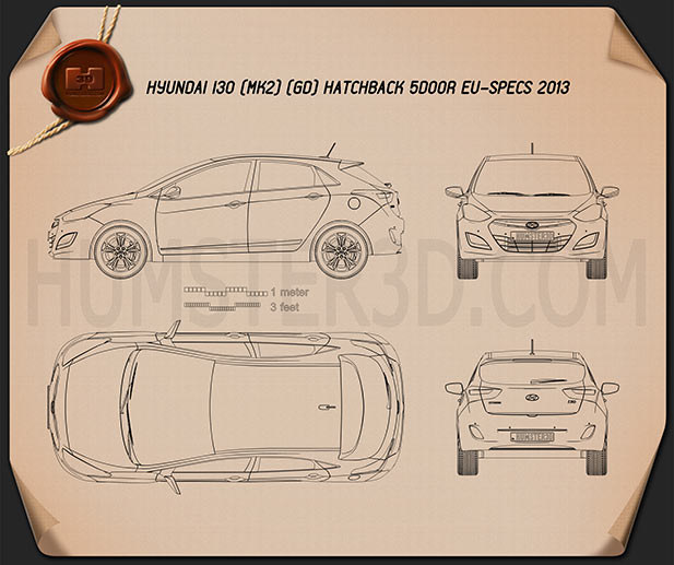Hyundai i30 5-door hatchback (EU) 2013 Blueprint