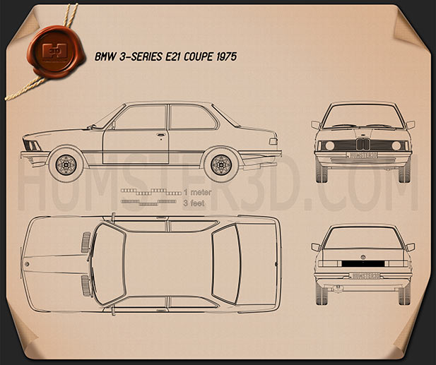 BMW 3 Series coupe (E21) 1975  Blueprint
