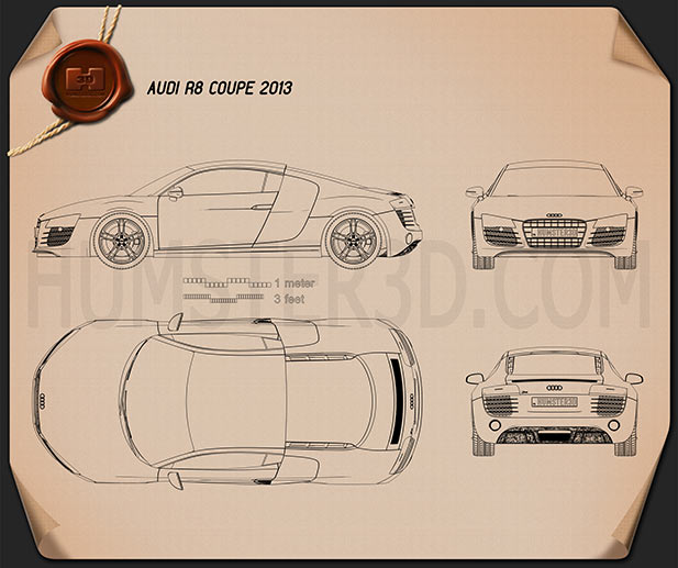 Audi R8 Coupe 2013 Blueprint
