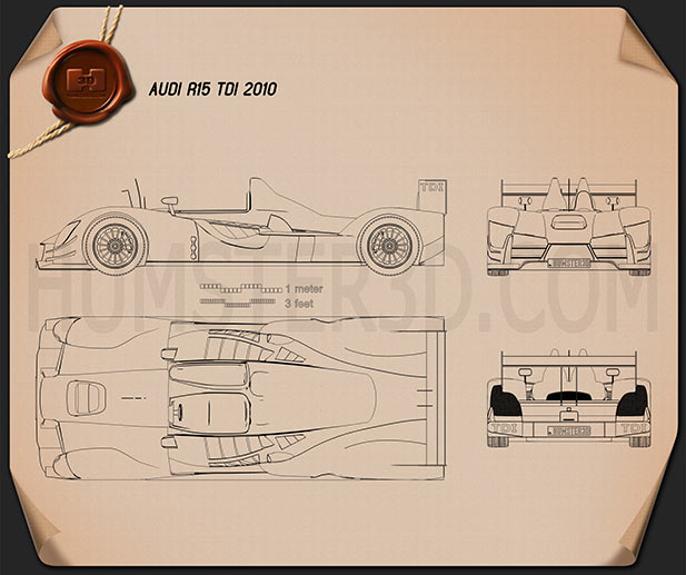 Audi R15 TDI 2010 Blueprint