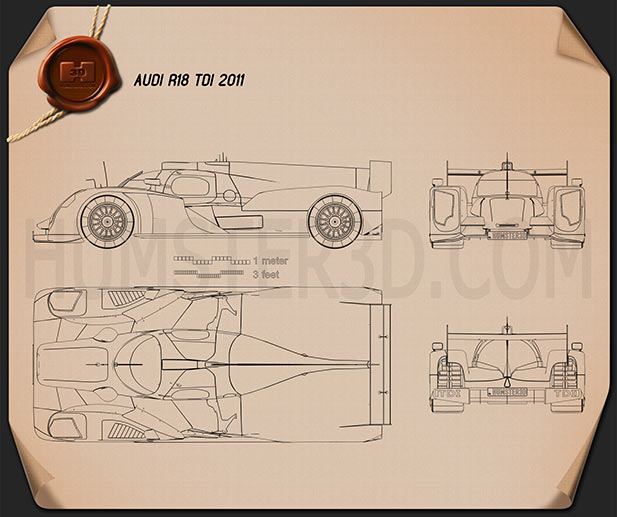 Audi R18 TDI 2011 Blueprint