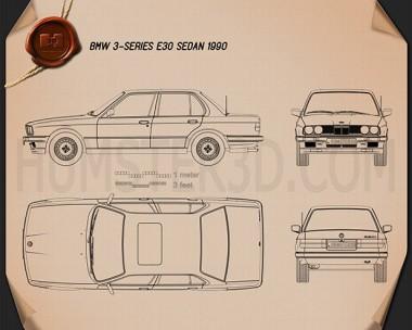 BMW 3 Series sedan (E30) 1990 Blueprint
