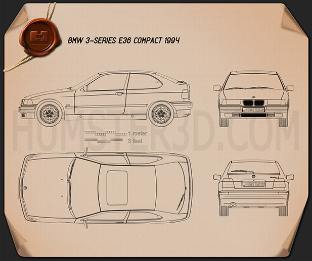 BMW 3 Series (E36) compact 1994 Blueprint
