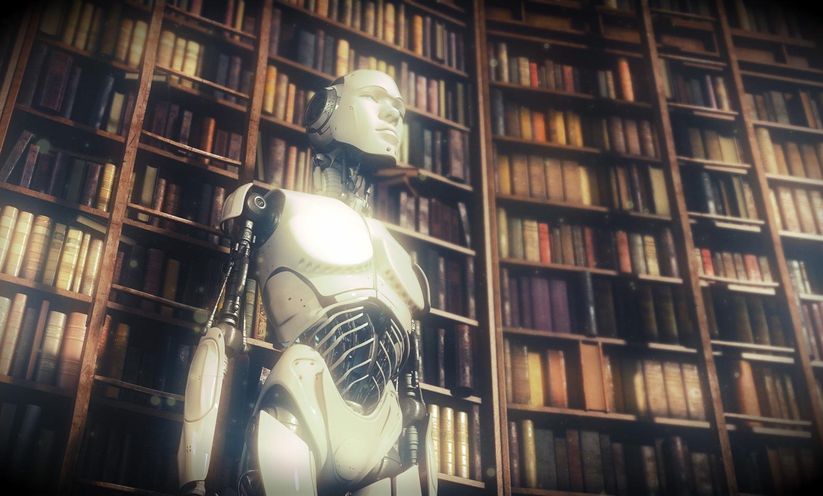Futuristic robot in classic library by Vladislav Ociacia