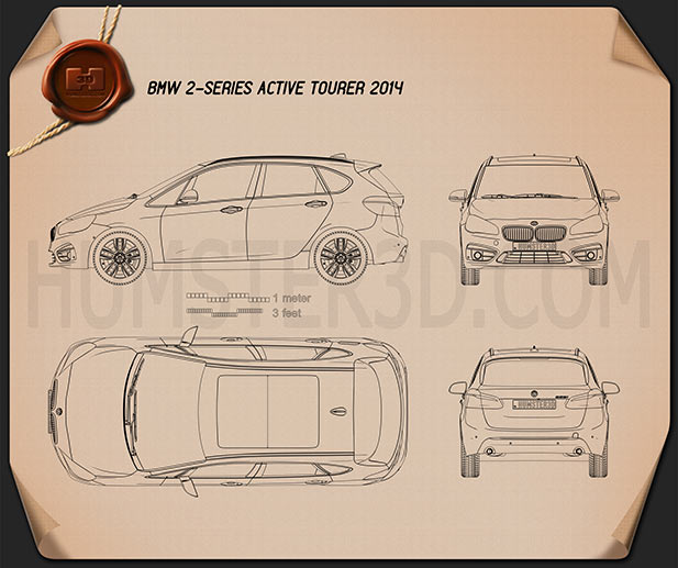 BMW 2 Series Active Tourer (F45) 2014 Blueprint