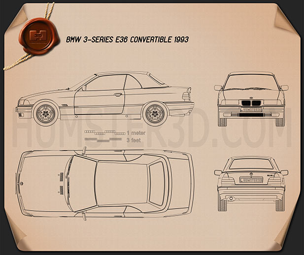 BMW 3 Series (E36) convertible 1994 Blueprint