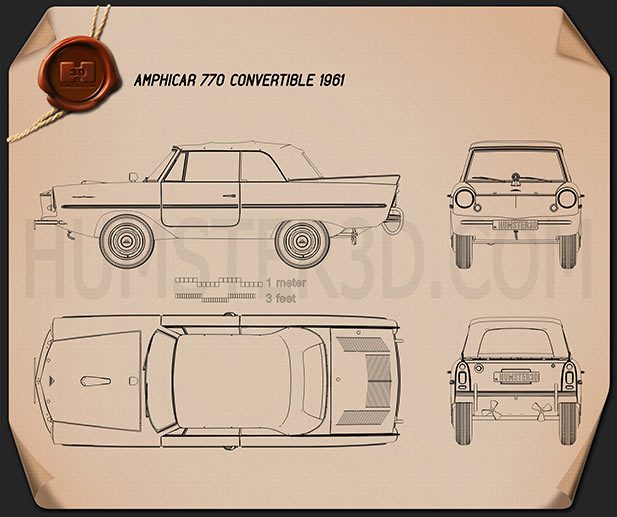 Amphicar 770 convertible 1961 Blueprint