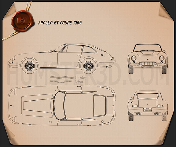 Apollo GT coupe 1965 Blueprint