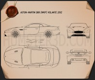 Aston Martin DB9 Volante 2013 Blueprint