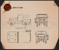 Jeep CJ-5 1954 Blueprint