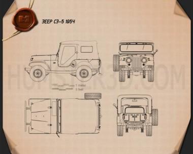 Jeep CJ-5 1954 Blueprint