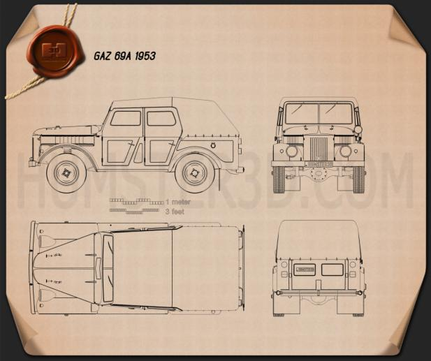 GAZ 69A 1953 Blueprint