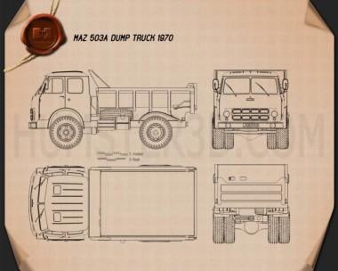 MAZ 503A Dump Truck 1970 Blueprint