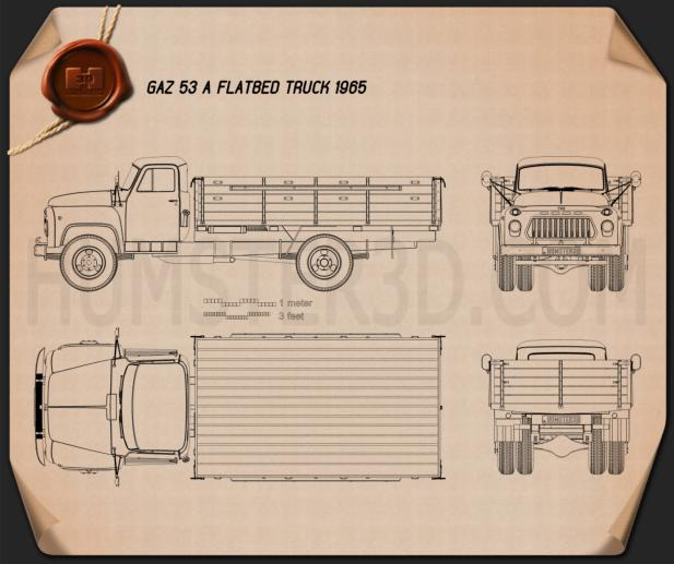 GAZ 53 Flatbed Truck 1965 Blueprint