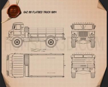 GAZ 66 Flatbed Truck 1964 Blueprint