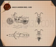 Harley-Davidson Model K 1953 Blueprint