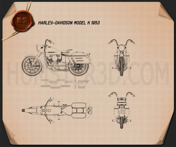 Harley-Davidson Model K 1953 Blueprint
