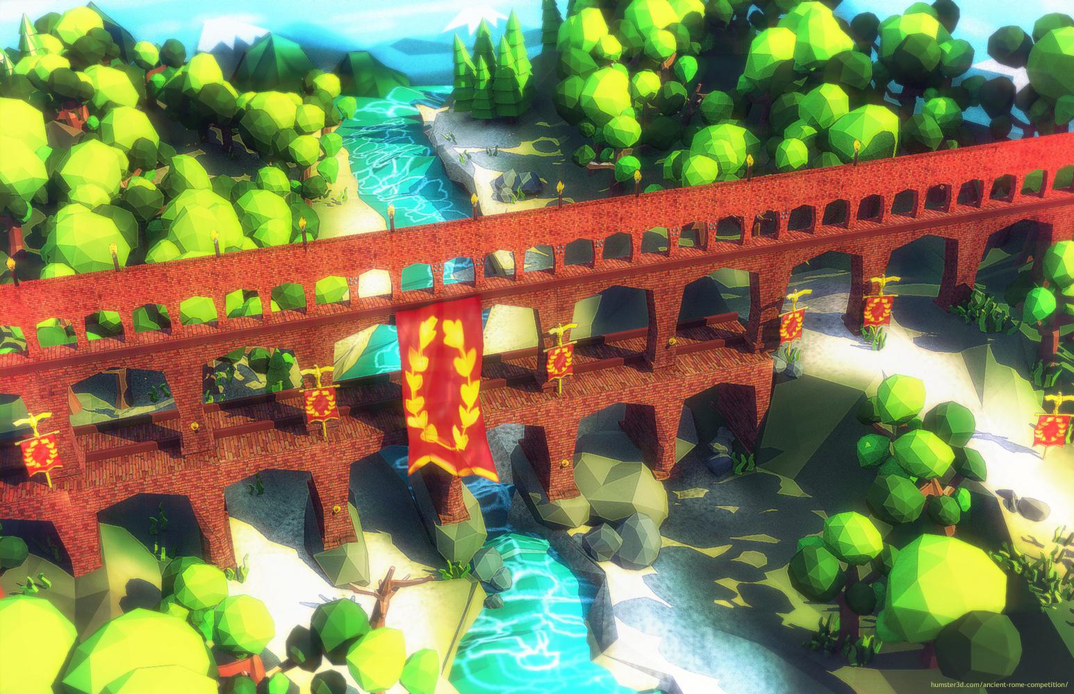 """Aqueduct Roman """"Pont du Gard"""" Animated 3d art"""