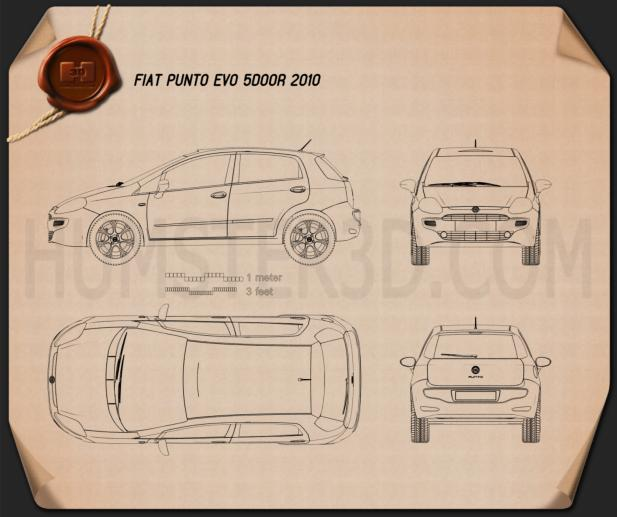 Fiat Punto Evo 5-door 2010 Blueprint