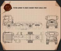 Foton Auman TX (1621) Chassis Truck 2-axle 2012 Blueprint