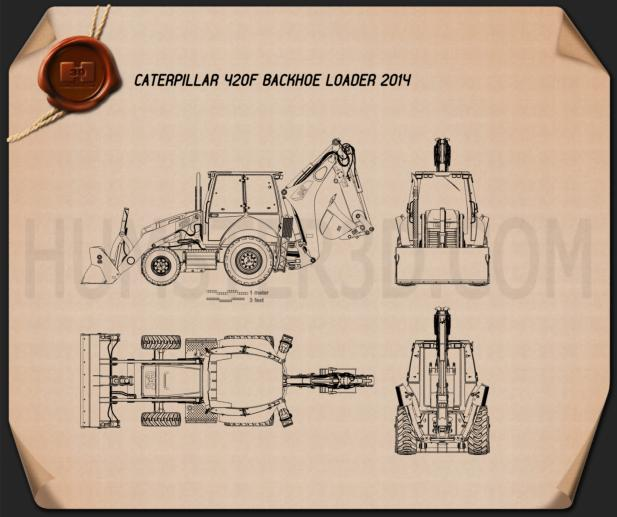 Caterpillar 420F Backhoe Loader Blueprint