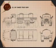 ZIL 130 Tanker Truck 1964 Blueprint