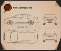 Toyota Avensis sedan 2009 Blueprint
