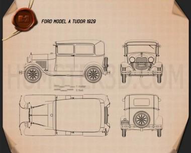 Ford Model A Tudor 1929 Blueprint