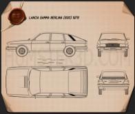 Lancia Gamma Berlina 1976 Blueprint