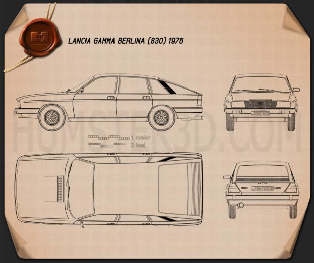 Lancia Gamma Berlina 1976 Blueprint