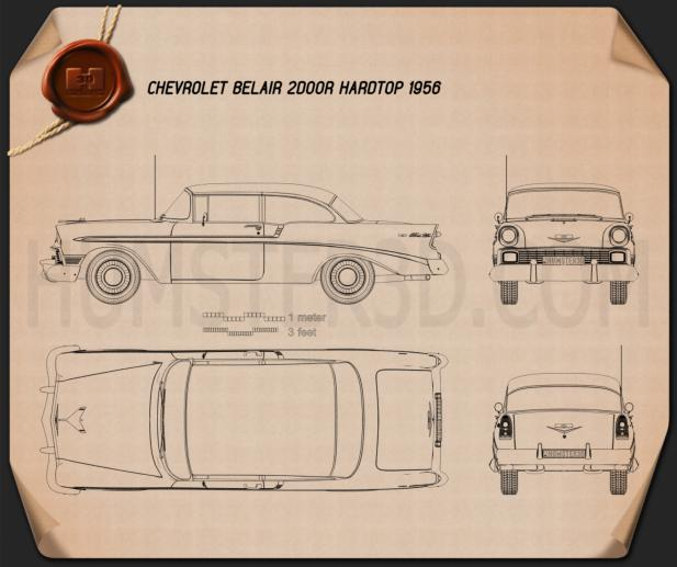 Chevrolet BelAir 2-door hardtop 1956 Blueprint
