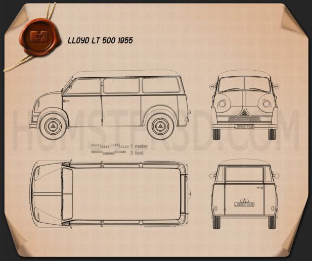 Lloyd LT 500 1955 Blueprint