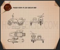 Piaggio Vespa PX 200 Sidecar 1998 Blueprint