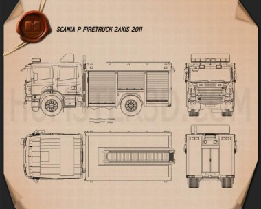 Scania P Fire Truck 2011 Blueprint