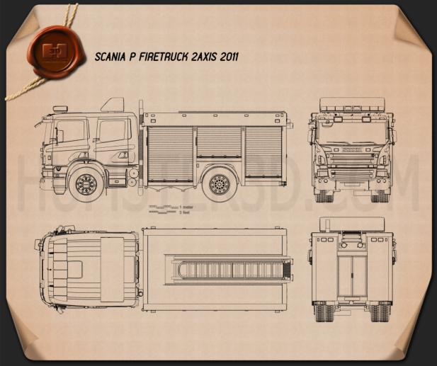 Scania P Fire Truck 2011 Blueprint 3d model