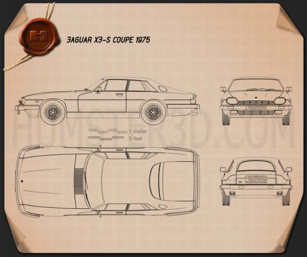 Jaguar XJ-S coupe 1975 Blueprint