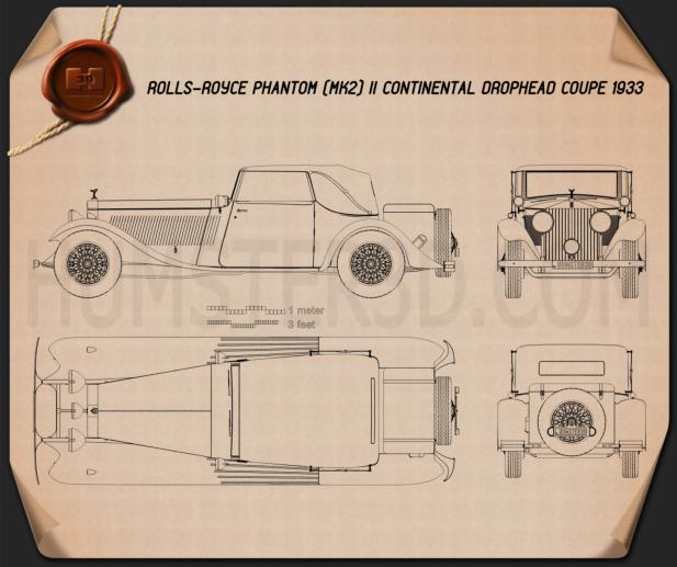 Rolls-Royce Phantom II Continental 1933 Blueprint