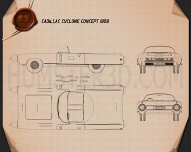 Cadillac Cyclone concept 1959 Blueprint