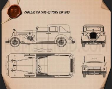 Cadillac V-16 town car 1933 Blueprint