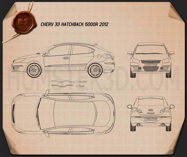 Chery A3 (J3) Hatchback 5-door 2012 Blueprint