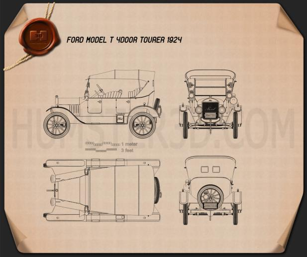 Ford Model T 4door Tourer 1924 Blueprint