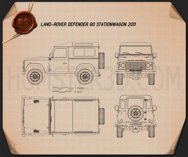 Land Rover Defender 90 Station Wagon 2011 Blueprint