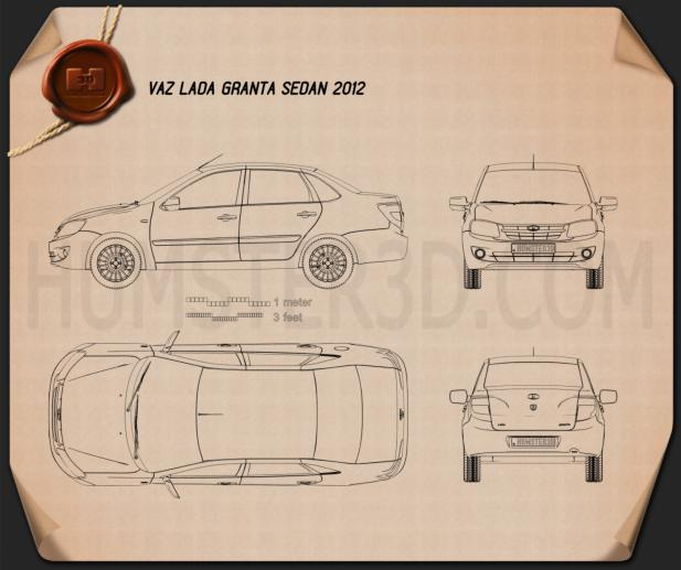 Lada Granta sedan 2012 Blueprint