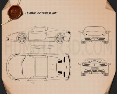 Ferrari 458 Spider 2010 Blueprint