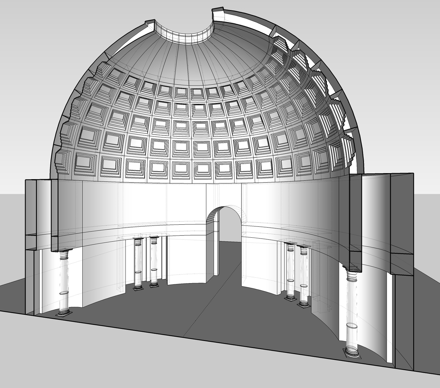 I used SketchUp to model the general scene