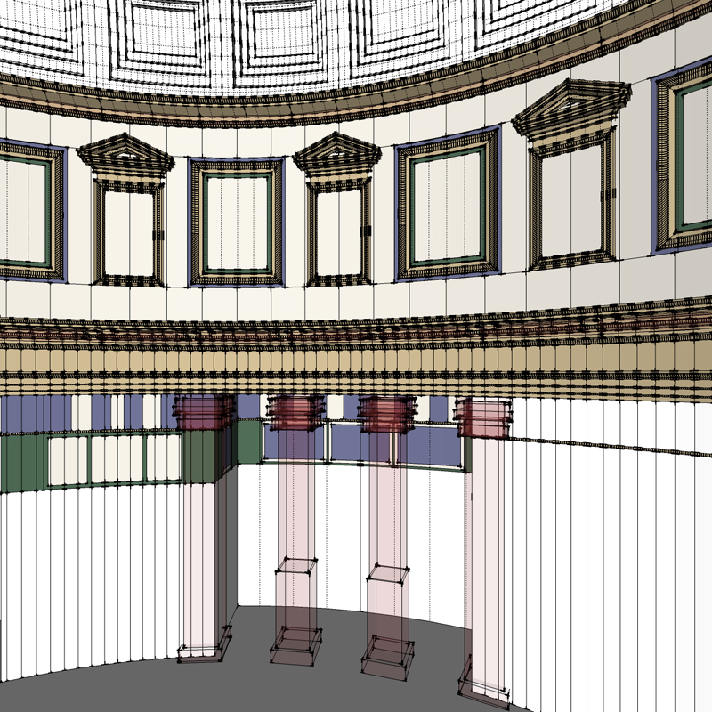 process was repeated to insert columns and cornices